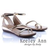 ★2018春夏★Keeley Ann美感時尚~流線質感腳踝帶楔形涼鞋(卡其色)