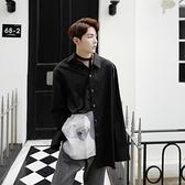 長袖襯衫-燙圖時尚簡約百搭寬鬆男上衣2色73po27【巴黎精品】