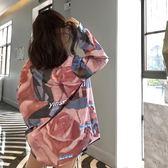 港風時尚印花長袖襯衫女裝上衣夏季韓版寬鬆中長款防曬外套開衫潮   初見居家