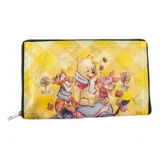 小禮堂 迪士尼 小熊維尼 折疊環保購物袋 尼龍 環保袋 手提袋 (黃 花朵)4710243-59736