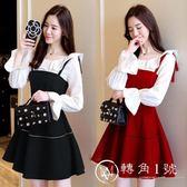 秋冬女裝可愛小公主吊帶裙韓版上衣兩件套甜美修身原宿絲絨連衣裙