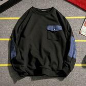 牛仔補丁長袖衛衣 大碼圓領T恤韓版男裝【非凡上品】cx857