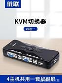 KVM切換器4口VGA4進1出電腦顯示器滑鼠鍵盤共用器鼠鍵屏共用 【全館免運】