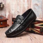 男休閒鞋 豆豆鞋 鱷魚紋透氣男真皮鞋夏季韓版英倫潮流懶人鞋平底鞋《印象精品》q1655
