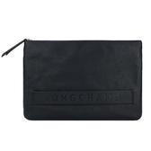 【南紡購物中心】LONGCHAMP 3D系列素面牛皮手拿包(黑)