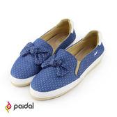 Paidal單寧刷色水玉點點立體蝴蝶結休閒樂福鞋