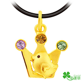 幸運草金飾-得佳雞-黃金墜子 彌月金飾  彌月禮 生肖金飾 小雞 皇冠造型