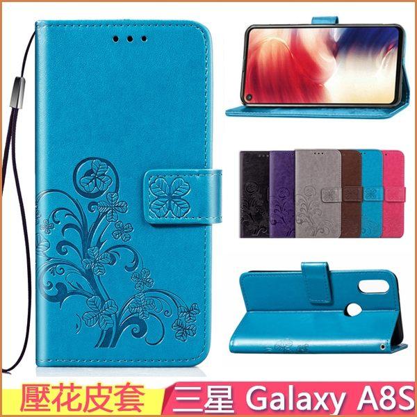 壓花皮套 Samsung Galaxy A8S 手機皮套 側翻 三星 a8s 保護殼 錢包 G8870 手機套 支架 保護殼 矽膠殼