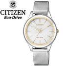 【萬年鐘錶】星辰 CITIZEN Eco Drive光動能  情人銀色腕錶  太陽能動力  復古米蘭帶設計 EM0504-81A
