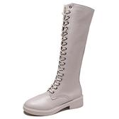 長筒馬丁靴女英倫風綁帶騎士靴平底時尚米白色女靴 - 風尚3C