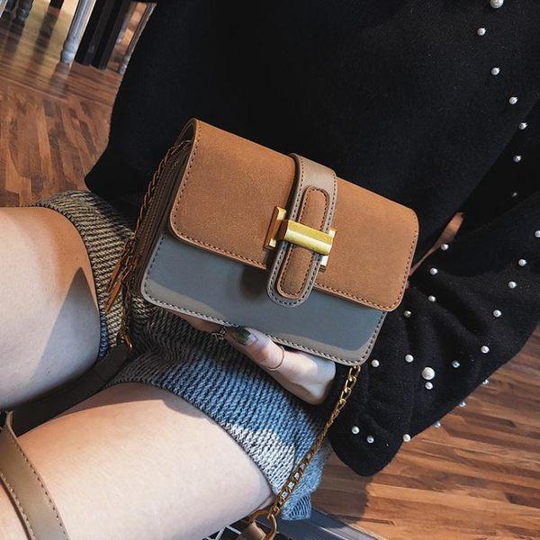 韓版時尚斜挎包磨砂小方包鏈條側背包女包學生休閒
