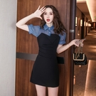VK精品服飾 韓系藍黑撞色拼接亮絲方領褶皺收腰短袖洋裝