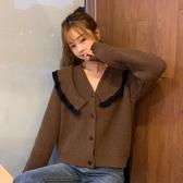 VK精品服飾 韓國風撞色拼接娃娃領毛針織衫長袖上衣