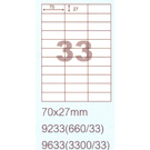 阿波羅 9233 A4 雷射噴墨影印自黏標籤貼紙 33格 70x27mm 20大張入