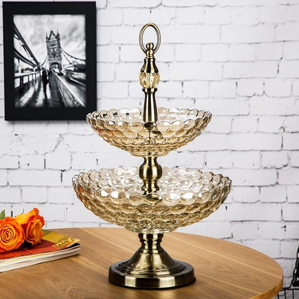 尺寸超過45公分請下宅配奢華歐式雙層玻璃果盤珠點高檔家用客廳大