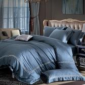 【貝兒居家寢飾生活館】裸睡系列60支刺繡素色萊賽爾天絲兩用被床包組(雙人/深藍)
