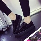 休閒鞋春季全黑色帆布鞋女鬆糕底平跟