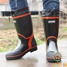防滑釣魚鞋長筒水鞋透氣雨鞋男防水高筒橡膠...