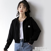 秋季新款短衛衣外套女韓版寬鬆春秋薄款連帽學生露臍短款上衣 完美居家