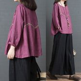 秋裝新款韓版寬鬆大尺碼時尚減齡棉麻刺繡圓領襯衣女娃娃衫上衣