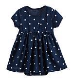 童裝 短袖包屁衣 純棉深藍點點洋裝款【20062】