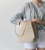 編織包 百搭女包休閒草編織單肩水桶包ins夏季新款百搭手提女包