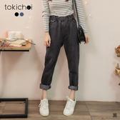 東京著衣-tokichoi-休閒率性腰鬆緊小口袋造型牛仔褲-S.M.L(192001)