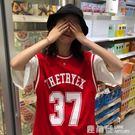 春夏韓版復古寬鬆bf風短袖T恤女休閒假兩件球衣網紅ins上衣打底衫『鹿角巷』