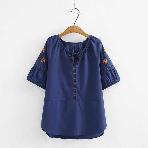 棉麻刺繡V領繫帶拼接寬鬆短袖T恤上衣(4色XL-4XL)*ORead*