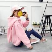 帽T 秋冬韓版連帽加絨刺繡套頭衛衣女上衣學生寬鬆大碼可愛兔耳朵外套