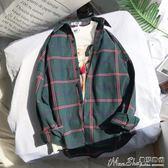 襯衫外套2018新款原宿風格子襯衫女長袖韓版潮學生情侶寬鬆 曼莎時尚