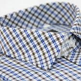 【金‧安德森】藍白棕格紋窄版長袖襯衫