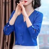 春款2020年新款時尚流行長袖雪紡衫女裝上衣洋氣小衫百搭襯衫春季 居享優品