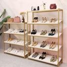 鞋店鞋架展示架創意店鋪落地貨架包包架多層鞋架置物架組合金色【頁面價格是訂金價格】