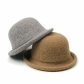 圓頂小禮帽女士冬季時尚草帽針織盆帽日系休閒百搭漁夫帽-風尚3C