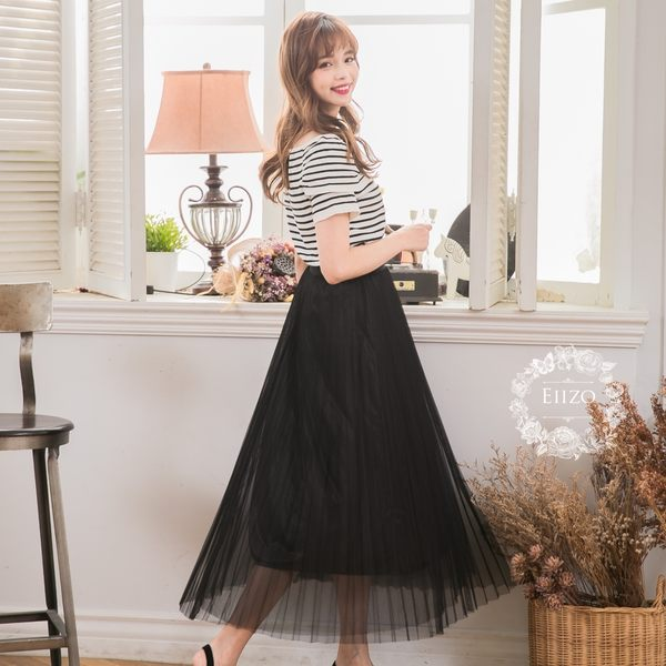 【EIIZO】激瘦版!修飾挺版百折浪漫紗裙(黑)