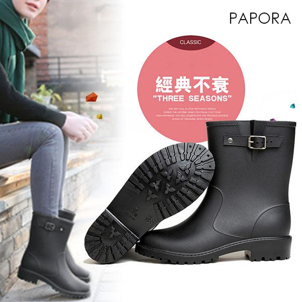 俏麗防水雨鞋中筒雨靴【KY9011】黑色(偏大)PAPORA