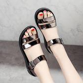 涼鞋女夏季平底學生新款平跟女鞋露趾一字扣帶沙灘鞋女式涼鞋【販衣小築】