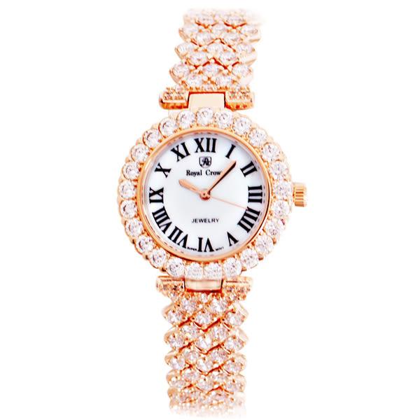 Royal Crown 6305 絢麗晶亮璀璨圓形鑲鑽女錶 - 玫瑰金
