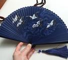 月亮扇高檔5寸女扇中國風全竹扇禮品扇夏季隨身攜帶小扇仙鶴祥云