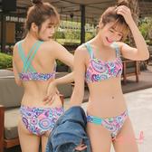 i PINK 熱帶冒險 泰國製線條美背兩截式泳衣M-L(藍)