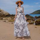 洋裝 韓版 無袖顯瘦中長款沙灘連身裙 花...
