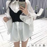 喇叭袖-假兩件拼接綁帶雪紡襯衫上衣