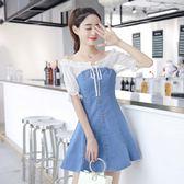 洋裝  夏港味復古雪紡拼接短袖假兩件薄款牛仔連衣裙女 MM23『M&G大尺碼』