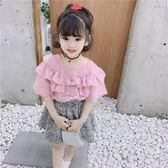雪紡短袖 女童洋氣襯衣夏季2019兒童裝短袖上衣女寶寶雪紡娃娃衫襯衫 果實時尚