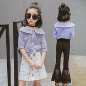 黑五好物節公主童裝女童短袖襯衣夏裝2018新款兒童大童女孩夏季條紋襯衫   初見居家