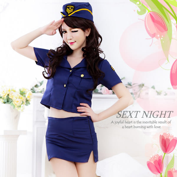 角色扮演服cosplay情趣用品 藍色3件式女警官軍官變裝服