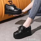 秋季英倫厚底鬆糕休閒單鞋內增高厚底楔形黑色小皮鞋高跟時尚女鞋