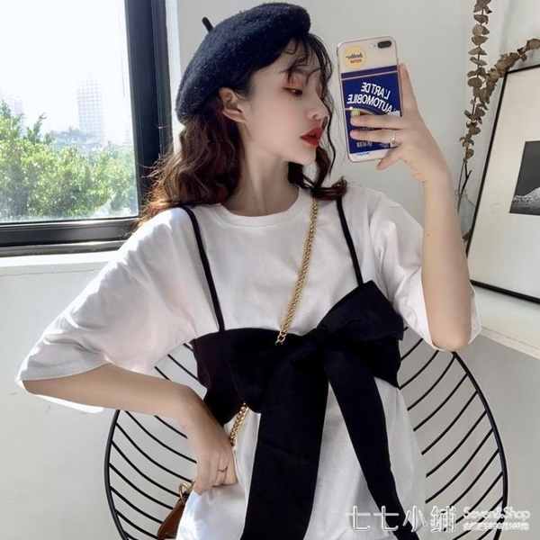 設計感小眾韓版復古夏季兩件套吊帶蝴蝶結中長款短袖T恤女裝ins潮