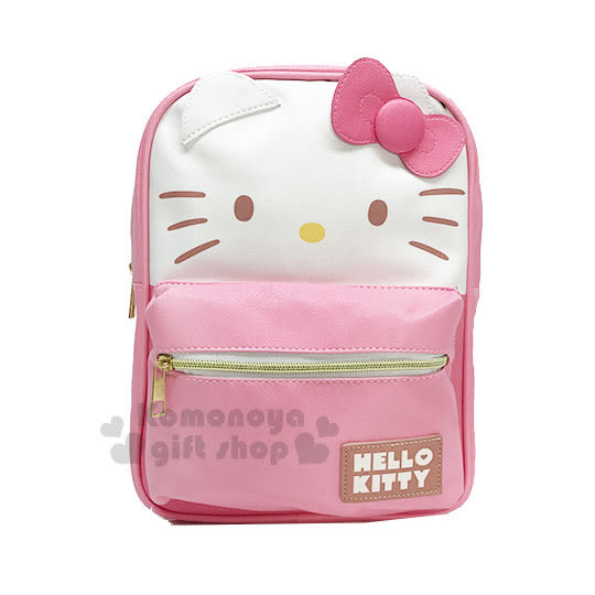 〔小禮堂〕Hello Kitty 造型皮革拉鍊後背包《M.粉白.大臉.立體耳》可調式背帶 7035180-20011